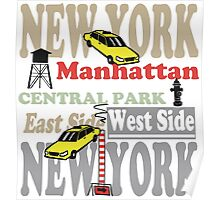 New York Manhattan destination sign illustration Poster