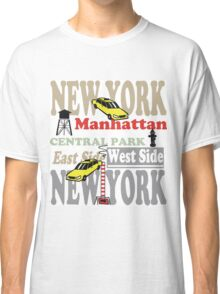 New York Manhattan destination sign illustration Classic T-Shirt