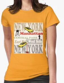 New York Manhattan destination sign illustration Womens Fitted T-Shirt