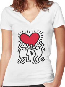 Keith Haring Love Women's Fitted V-Neck T-Shirt