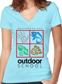 Outdoor School Logo (fcb) Women's Fitted V-Neck T-Shirt