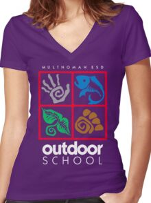 Outdoor School Logo (fcw) Women's Fitted V-Neck T-Shirt