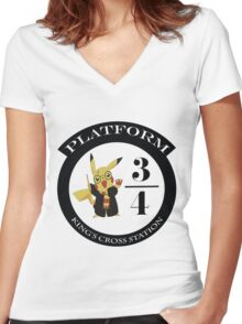 Pikachu potter Women's Fitted V-Neck T-Shirt