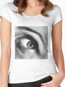 Looking eyes, graphite crayon on paper Women's Fitted Scoop T-Shirt
