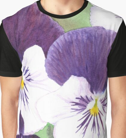 White and purple Pansies flowers Graphic T-Shirt