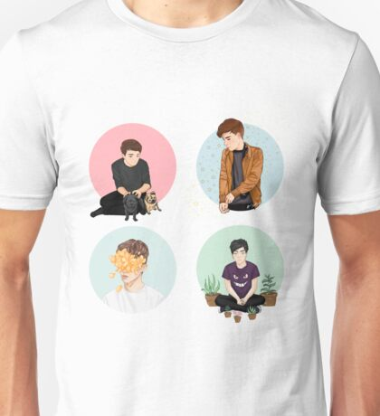 Youtubers: Troye, Connor, Dan, Phil Unisex T-Shirt