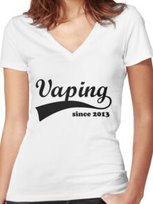 Vape Design Vaping Since 2013 Black Women's Fitted V-Neck T-Shirt