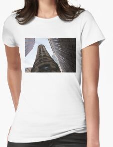 Manhattan Skyscraper Canyons - Architectural Diversity in the Financial District Womens Fitted T-Shirt