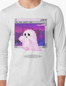 Pink Ghost Vaporwave Aesthetics Long Sleeve T-Shirt