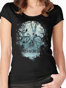 Dark Forest Skull Women's Fitted Scoop T-Shirt