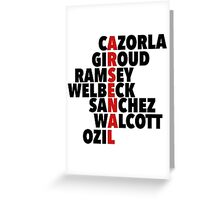 Arsenal spelt using player names Greeting Card