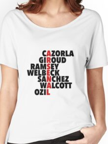 Arsenal spelt using player names Women's Relaxed Fit T-Shirt