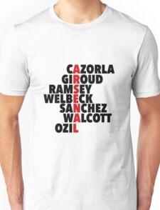 Arsenal spelt using player names Unisex T-Shirt