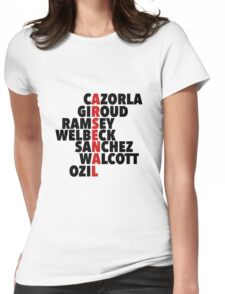 Arsenal spelt using player names Womens Fitted T-Shirt