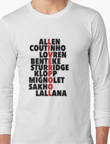 Liverpool spelt using player names Long Sleeve T-Shirt