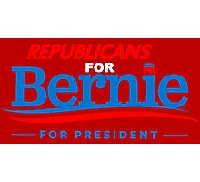 Republicans for Bernie for President - Sharp Red Photographic Print