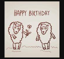Sheep happy birthday card One Piece - Short Sleeve