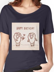 Sheep happy birthday card Women's Relaxed Fit T-Shirt