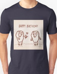 Sheep happy birthday card Unisex T-Shirt