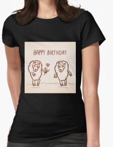 Sheep happy birthday card Womens Fitted T-Shirt