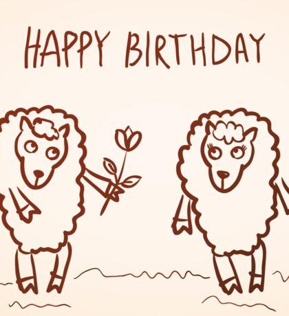 Sheep happy birthday card Sticker