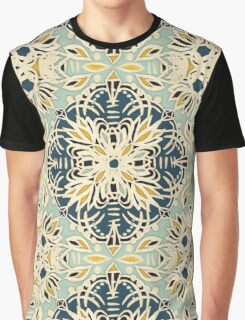 Protea Pattern in Deep Teal, Cream, Sage Green & Yellow Ochre Graphic T-Shirt