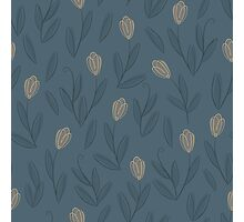 Floral blue seamless pattern with yellow tulips Photographic Print