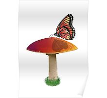 Mushroom and Butterfly Poster