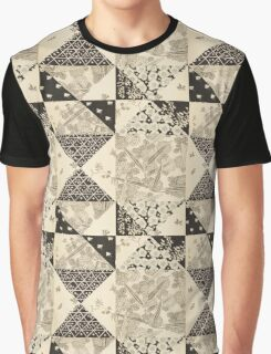 Black Origami Patchwork Graphic T-Shirt