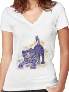 Panther Splash Women's Fitted V-Neck T-Shirt