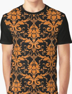 Orange Black Damask Graphic T-Shirt