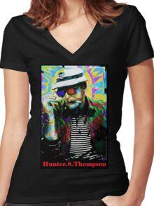 Hunter.S. Thompson.  Women's Fitted V-Neck T-Shirt