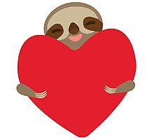 Funny sloth with heart Photographic Print