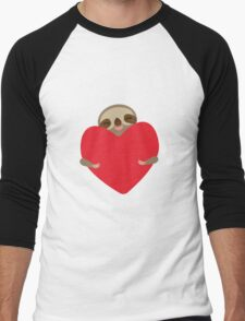 Funny sloth with heart Men's Baseball ¾ T-Shirt