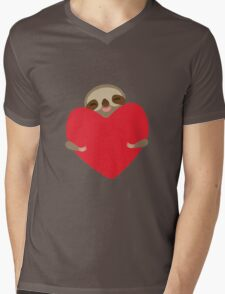 Funny sloth with heart Mens V-Neck T-Shirt