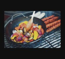 Barbecue Vegetables and Kebabs on Hot Coals One Piece - Long Sleeve