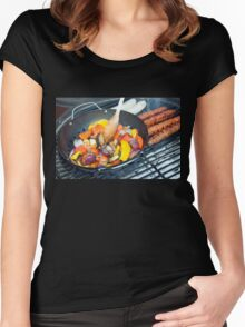 Barbecue Vegetables and Kebabs on Hot Coals Women's Fitted Scoop T-Shirt