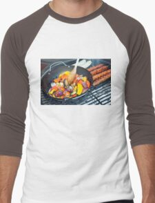 Barbecue Vegetables and Kebabs on Hot Coals Men's Baseball ¾ T-Shirt
