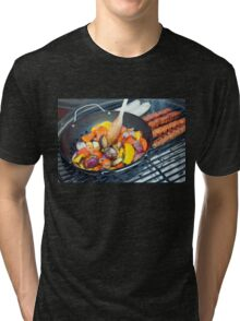 Barbecue Vegetables and Kebabs on Hot Coals Tri-blend T-Shirt