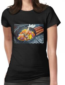 Barbecue Vegetables and Kebabs on Hot Coals Womens Fitted T-Shirt