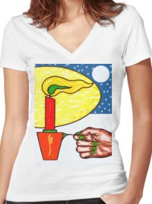 CHRISTMAS CANDLE Women's Fitted V-Neck T-Shirt