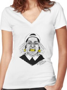 A$AP ROCKY - SLEAZE PLEASE Women's Fitted V-Neck T-Shirt