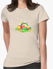 Big Bang Theory Sheldon Cooper Melting Rubik's Cube cool geek Womens Fitted T-Shirt