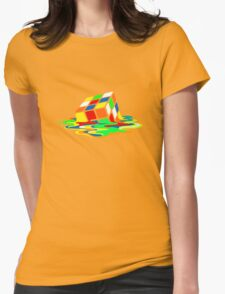 Big Bang Theory Sheldon Cooper Melting Rubik's Cube cool geek Womens Fitted T-Shirt