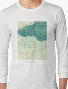 Edinburgh Map Blue Vintage Long Sleeve T-Shirt