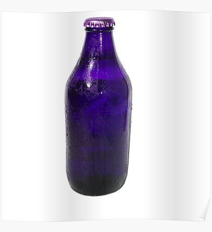 Isolated Indigo Beer Bottle Poster