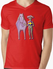 GIFT HORSE Mens V-Neck T-Shirt