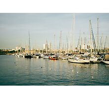 Barcelona Marina At Sunset Photographic Print