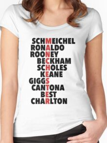 LEGENDS: Manchester spelt with player names Women's Fitted Scoop T-Shirt