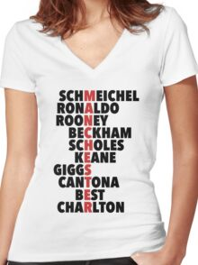 LEGENDS: Manchester spelt with player names Women's Fitted V-Neck T-Shirt